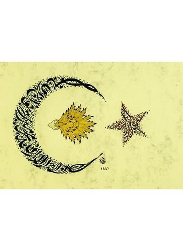 BEDESTEN PAZAR Hüsn-i Hat 21x30 cm Çerçevesiz Ay Yıldız Formunda Besmele, Nazar Renkli